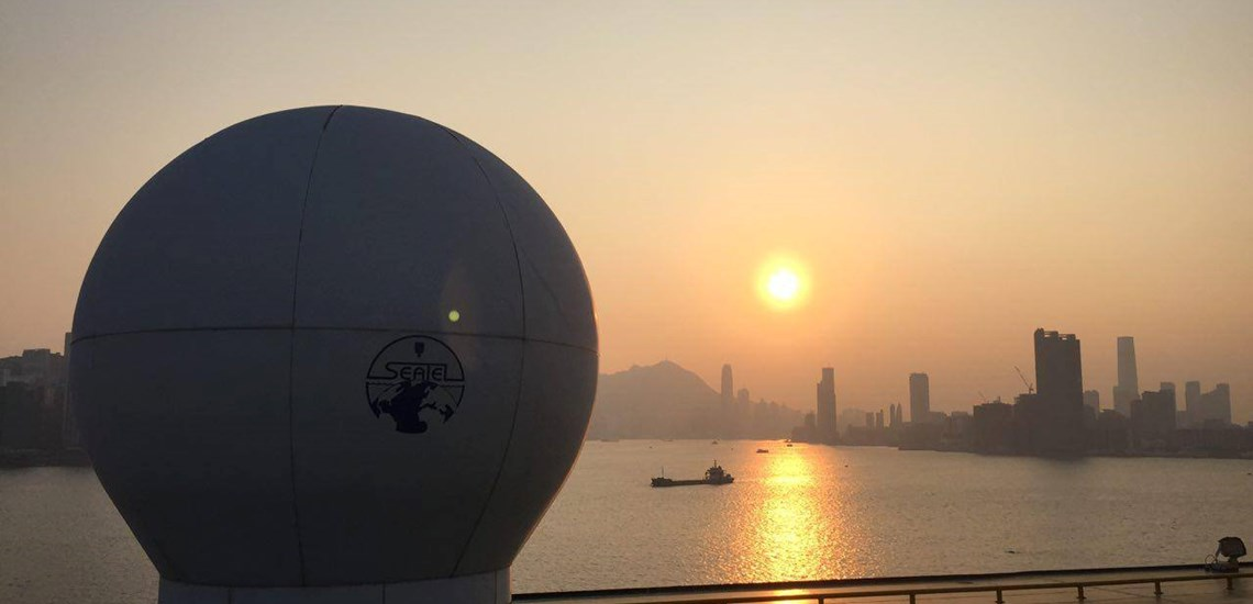 Sunset Hong Kong harbour Cruise Ship